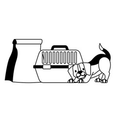 beagle dog with cage and food bag vector image