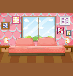 Bedroom with pink furniture vector