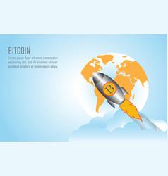 Bitcoin growth conceptual with bitcoin logo vector
