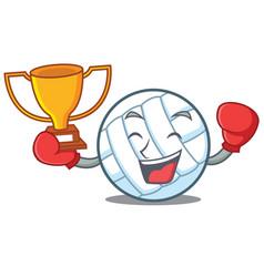 Boxing winner volley ball character cartoon vector