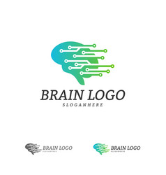 brain tech logo template tech brain mind logo vector image