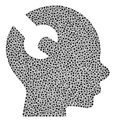 Brain wrench tool mosaic of small circles vector