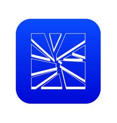 broken glass icon digital blue vector image