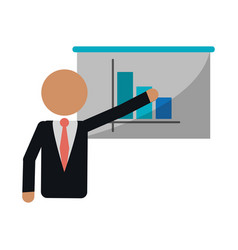 Businessman presentation graph statistics vector