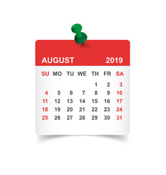 calendar august 2019 year in paper sticker with vector image
