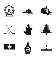 canadian symbols icon set simple style vector image