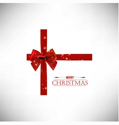 christmas card with red ribbon vector image
