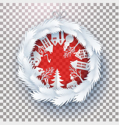 Christmas decorated ball on transparent vector