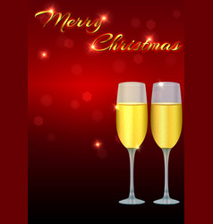 Christmas greeting card template with two glasses vector