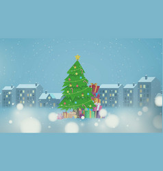 Christmas tree and gift box on winter city vector