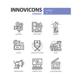 cinema - set of modern thin line design icons vector image