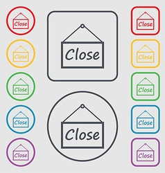 Close icon sign Symbols on the Round and square vector