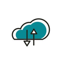 cloud computing upload download web development vector image