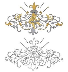 Coat of arms with cherub vector