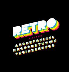 Colorful retro font 80s style alphabet letters vector