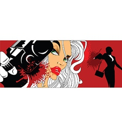 Comic book style woman with gun vector