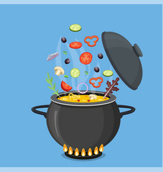 cooking pot with vegetables and mushrooms vector image
