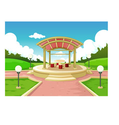 Cool grass hill park landscape with building vector
