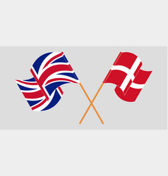 Crossed and waving flags denmark and uk vector