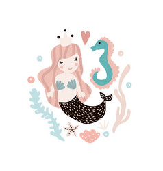 Cute with mermaid and seahorse vector