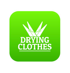 Drying clothes icon green vector