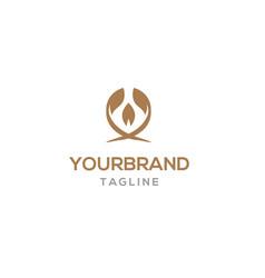 elegant logo template with leaf vector image