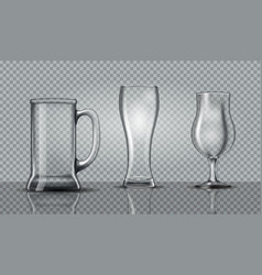 empty beer glasses mockup vector image