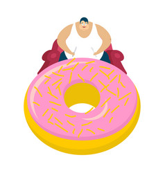 fat guy is sitting on chair and donut glutton vector image