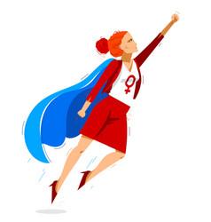 Feminist woman superhero social justice warrior vector