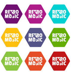 festival retro music icons set 9 vector image