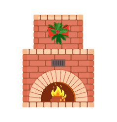 fireplace decorated with wreath and bows holiday vector image