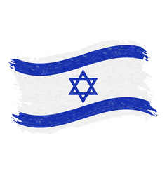flag of israel grunge abstract brush stroke vector image