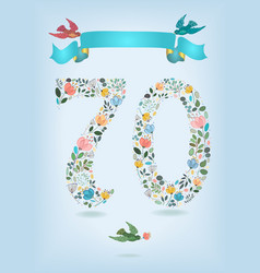 Floral number seventy with ribbon and birds vector