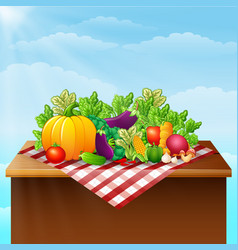 fresh vegetables on the table vector image