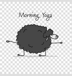 Funny sheep doing yoga sketch for your design vector