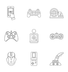 Game online icons set outline style vector