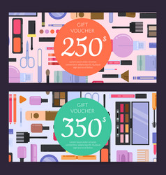 Gift card vouchers for beauty products vector