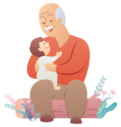 Grandfather and baon white vector