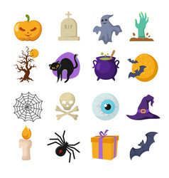 halloween cartoon cute characters vector image