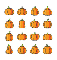 halloween pumpkin thin line icons editable stroke vector image