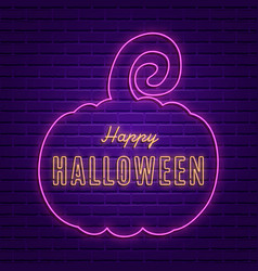 happy halloween bright signboard with pumpkin vector image