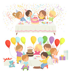 happy kids at birthday party set cute boys and vector image