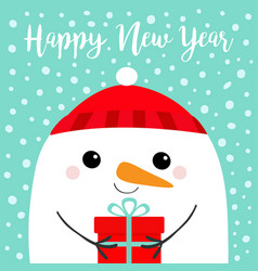 happy new year snowman head face holding gift box vector image