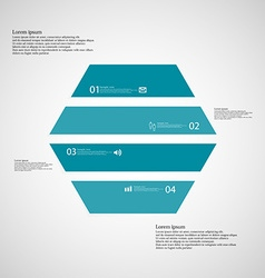 Hexagonal infographic template consists of four vector