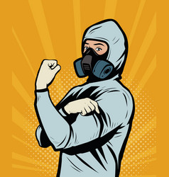 Human in chemical protective suit retro comic pop vector