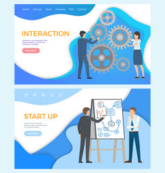 Interaction and start up business world vector