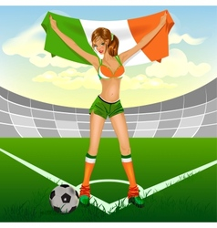 ireland girl soccer fan vector image