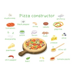 Isometric set of ingredients to build custom tasty vector