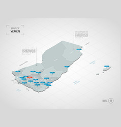 Isometric yemen map with city names and vector