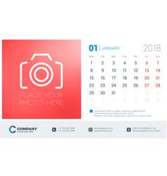 january 2018 desk calendar design template with vector image